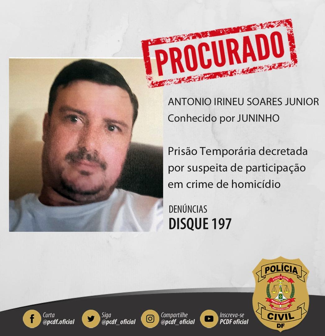 PCDF divulga imagem de homem suspeito de ser mandante de homicídio